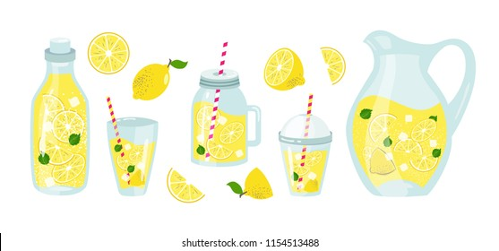 Set of lemonade elements, lemon, ice, straw. Slice lemon, whole, half. Glass, pitcher, jar, jug, bottle. Vector element of smoothie lemonade fresh juice detox in flat cartoon style Vector illustration