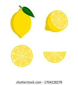 Set of lemons- a whole lemon, half, a piece and a slice of lemon. Fruit isolated on a white background. Stock vector illustration.