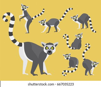 Set of lemurs in modern flat style. Animal character design isolate background.