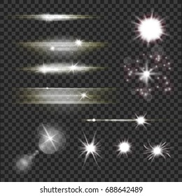 set of  lens flares and light flashes with sparkling particles and rays over transparent dark background. energy explosions, glowing sun burst and bright glitter stars effect. vector