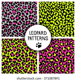 Set of leopard skin print patterns. Repeating seamless vector animal background. Abstract jaguar texture. Neon color. Wallpaper, cloth design, fabric, paper, wrapping, textile design template.