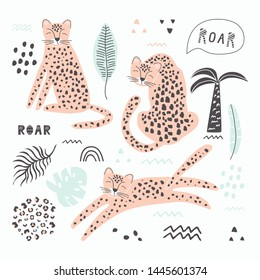 Set with leopard and small elements to create seamless patterns. Vector illustration, with exotic animal, for printing on fabric, wrapping paper, bed linen, Wallpaper. Cute baby background.
