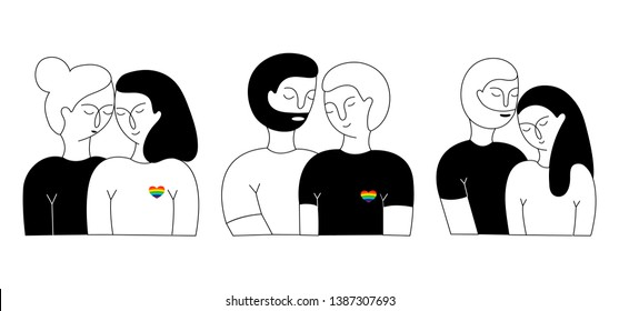 A set of lesbian couples, a gay couple and heterosexual couple. Homosexual relationships. LGBT couple. Hand-drawn vector illustration. International day of families.