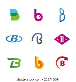 Set of letter B logo icons design template elements. Collection of vector signs.
