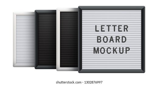 Set of letter boards in different colors. Universal advertising mockup for banner, poster, menu or sign.