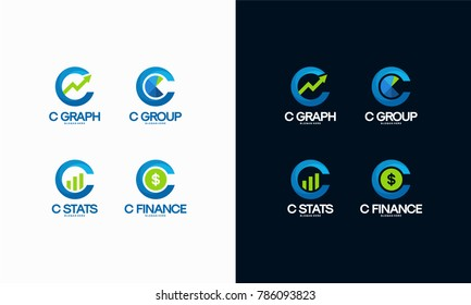 Set of Letter C Finance and Marketing concept logo designs for Graph, Stats and Finance. Vector illustration