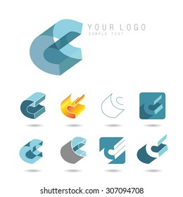 Set of letter C icons for corporate identity, element for sign and logo