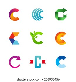 Set of letter C logo icons design template elements. Collection of vector signs.