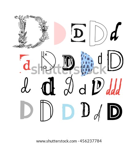 Set Letter D Different Style Collection Stock Vector Royalty Free