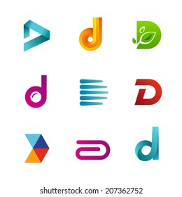 Set of letter D logo icons design template elements. Collection of vector signs.