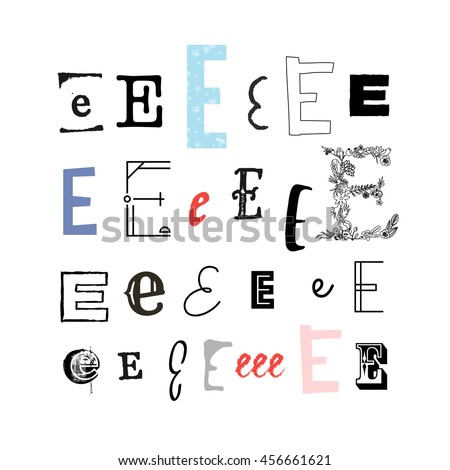 Set Letter E Different Style Collection Stock Vector Royalty Free