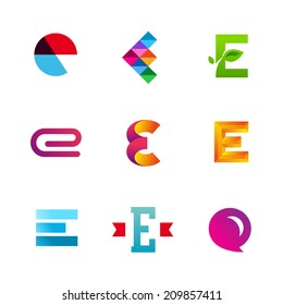 Set of letter E logo icons design template elements. Collection of vector signs.