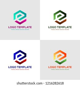 set of letter e vector origami logo icon colorful abstract design template element logo icon