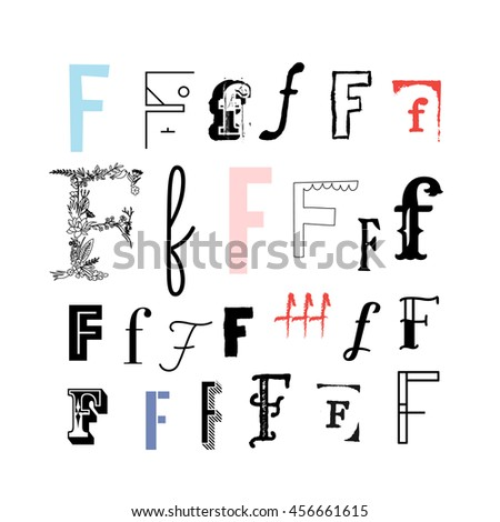 Set Letter F Different Style Collection Stock Vector Royalty Free