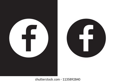 Set of letter F. Flat web icon or sign isolated on white & black background, vector illustration