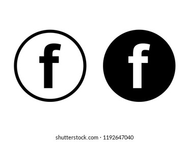 Set of letter f. Social media icon.