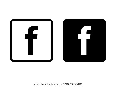 Set of letter f web icon. Social media icon.