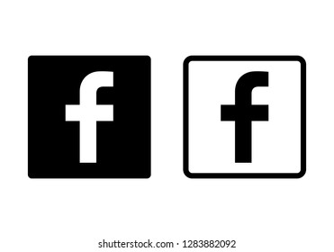 Set of letter f web icon. Social media icon