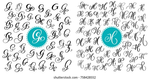 Set letter G and H. Hand drawn vector flourish calligraphy. Script font. Isolated letters written with ink. Handwritten brush style. Hand lettering for logos packaging design poster.