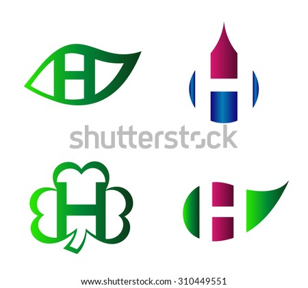 883d731cbdd Set of letter H logo icons design template elements. Collection of vector  signs