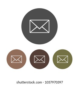 Set, letter icon, email sign. Vector illustration. Flat design. Message icon, email, letter sign. Vector illustration.