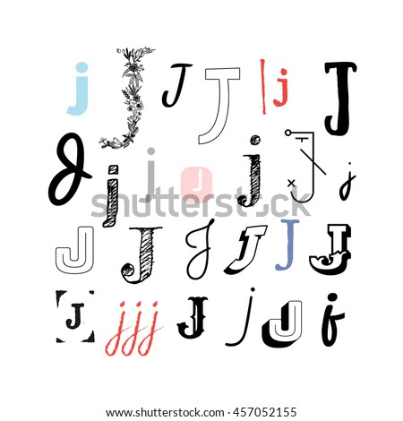 Set Letter J Different Style Collection Stock Vector (Royalty Free