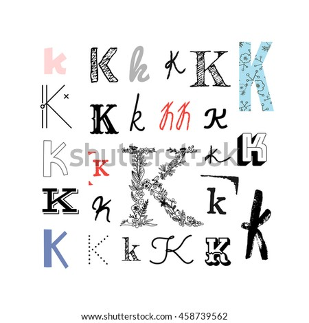 Set Letter K Different Style Collection Stock Vector Royalty Free