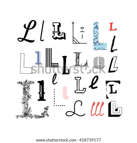 Set Letter L Different Style Collection Stock Vector Royalty Free