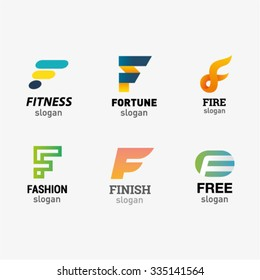 Set of letter logo design template elements collection of vector letter F logo