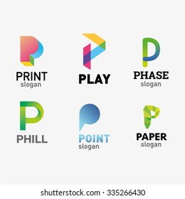 Set of letter logo design template elements collection of vector letter P logo