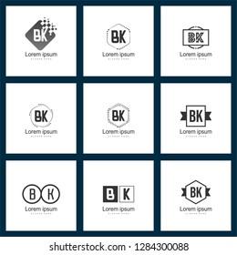 Set of letter logo. Initial BK Logo Template Vector Design