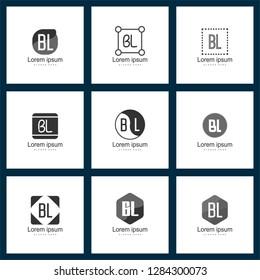 Set of letter logo. Initial BL Logo Template Vector Design