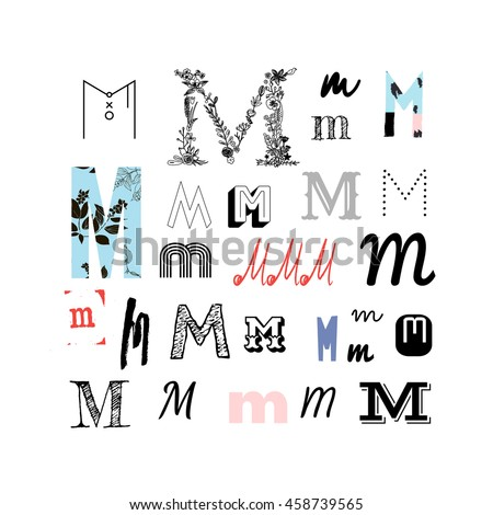 Set Letter M Different Style Collection Stock Vector (Royalty Free