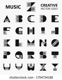 Set of Letter Piano symbol Logo Design. Modern monogram logo template isolated on grey background. Vector Illustration.