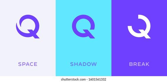 Set of letter Q minimal logo icon design template elements