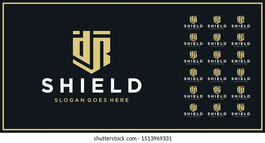 set of letter shield icon