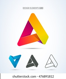 Set of letter A stripe logo icons. Corporate sign for web, print, application design. Business icon.
