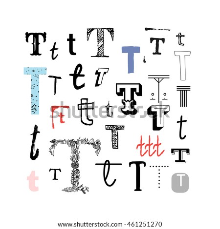 Set Letter T Different Style Collection Stock Vector Royalty Free