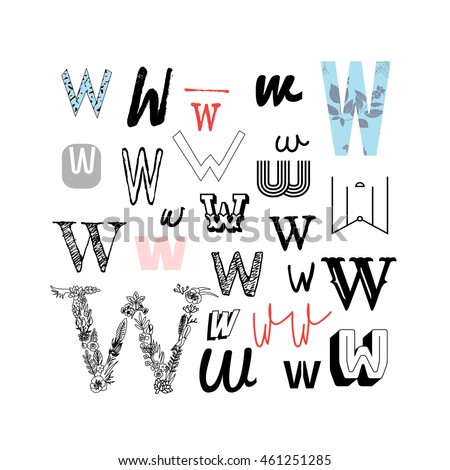 Set Letter W Different Style Collection Stock Vector Royalty Free