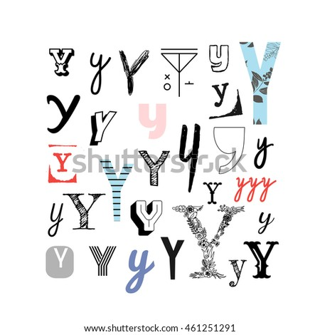 Set Letter Y Different Style Collection Stock Vector Royalty Free