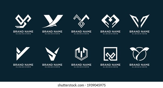 Set of letter Y logo collection with modern creative concept Premium Vector