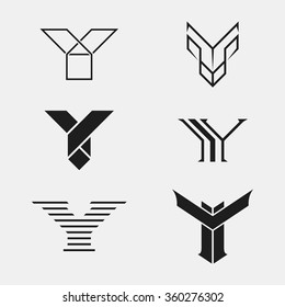The set of letter Y sign, logo, icon design template elements. One color. Stock vector.
