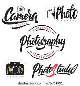 Set of lettering and calligraphy logo photo studio, camera, photography!Labels,badges and design elements!
