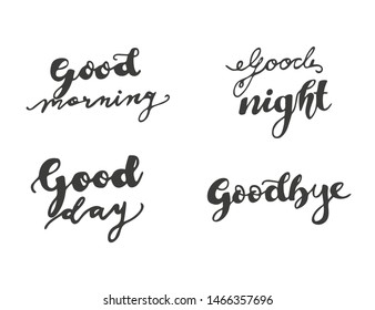 set lettering good morning day night and goodbye