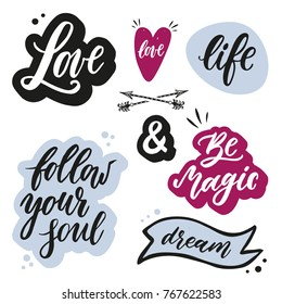 Set of lettering words and phrases with hand drawn design elements. Boho style
