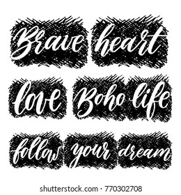 Set of lettering words and phrases with hand drawn design elements.