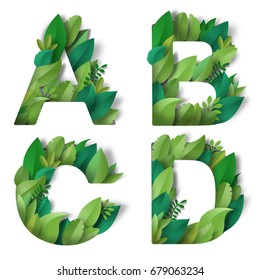 Set of letters A, B, C, D of leaves. Paper cut art.