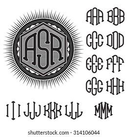 set of letters for decoration of stylish retro monogram
