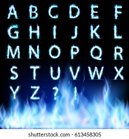Set of letters. Font burning with a blue flame. Stock vector illustration.