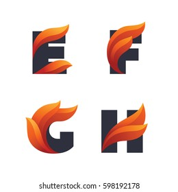 Set of letters icons with fire flames: E, F, G, H.